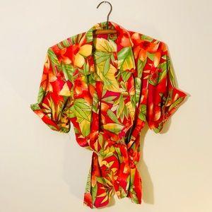 Vintage Retro 90's Hawaiian Button Up Popover